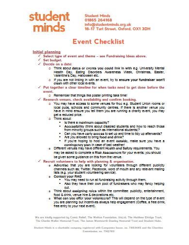 student event checklist