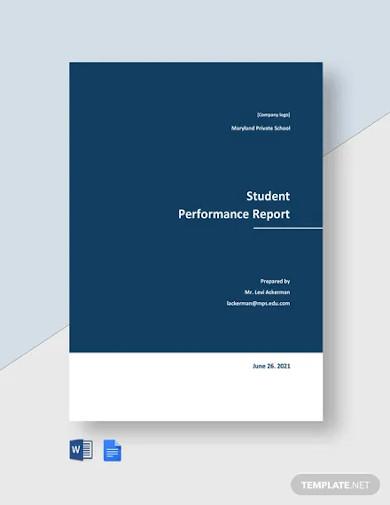 student performance report templates