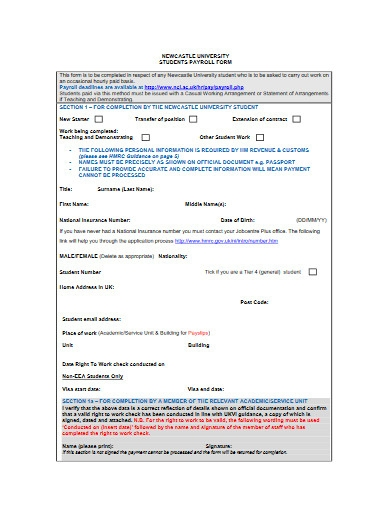 students payroll form