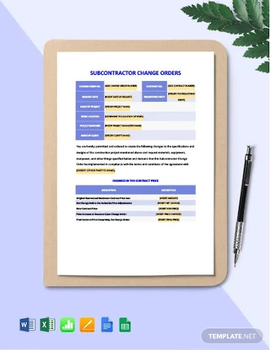 subcontractor change orders template