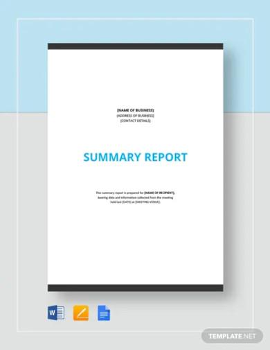 summary report template