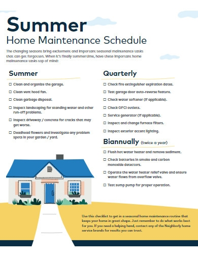 summer home maintenance schedule