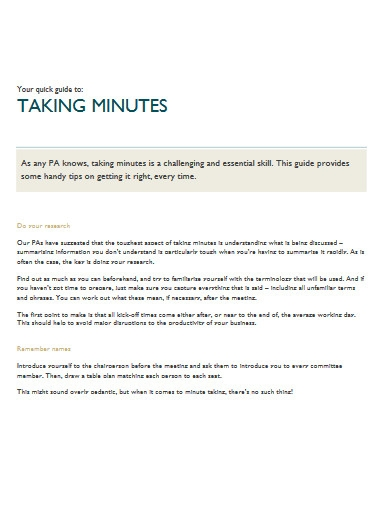 taking minutes example
