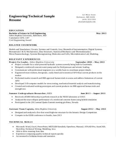 technical engineering resume example