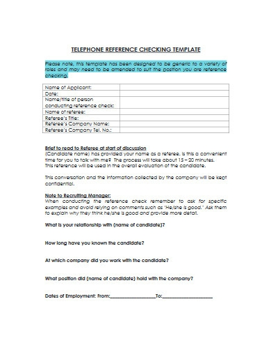 telephone reference checking template