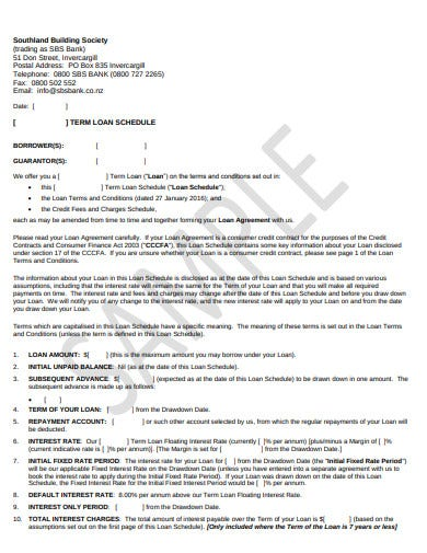 term loan schedule template