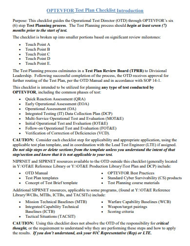 test plan checklist