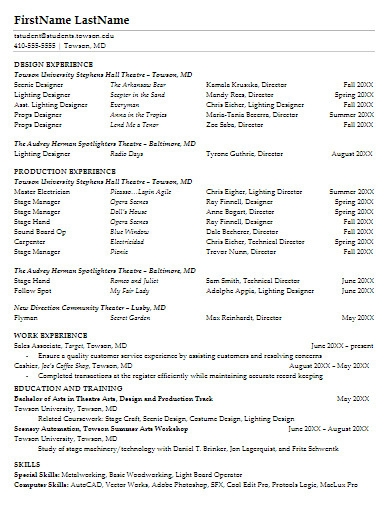 theater resume in pdf