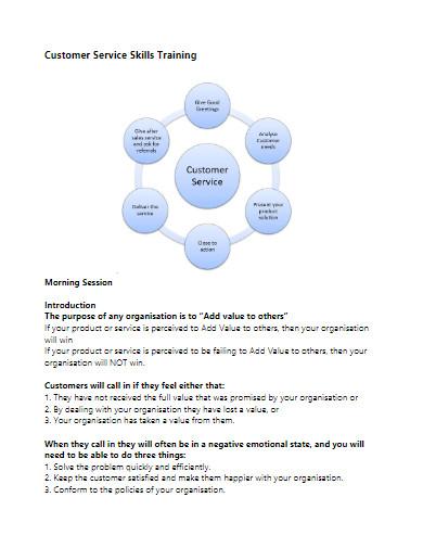 training proposal for customer service skills