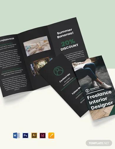 tri fold freelance designer brochure template