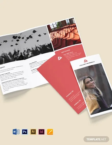 tri fold university graduation brochure template