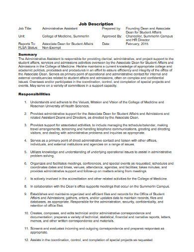 university administrative assistant job description