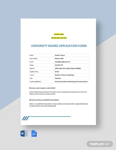 university board application form template