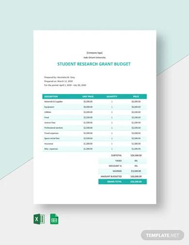university grant budget template