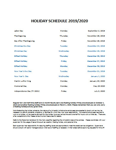 university holiday schedule