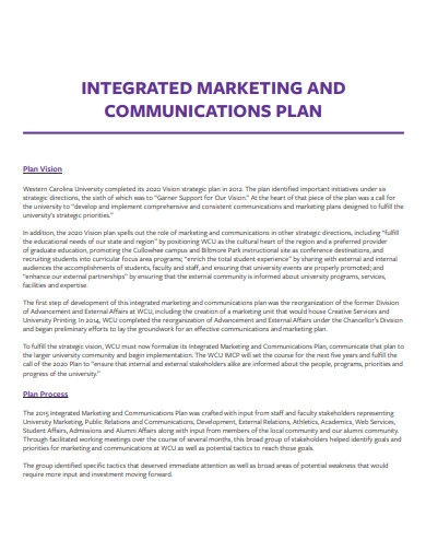university integrated marketing and communications plan