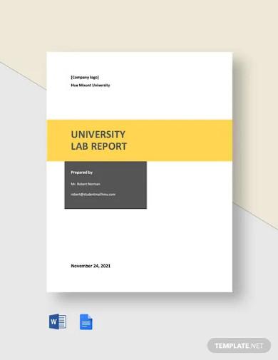 university lab report template