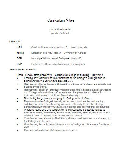 university nursing curriculum vitae