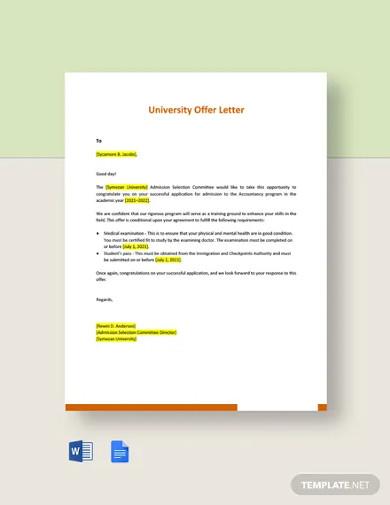 university offer letter template