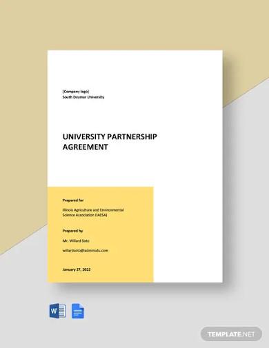 university partnership agreement templates
