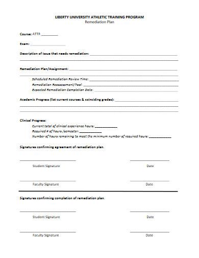 university training remediation plan