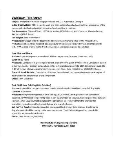 validation test report
