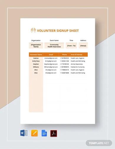 volunteer signup sheet templates