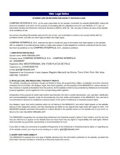 web legal notice