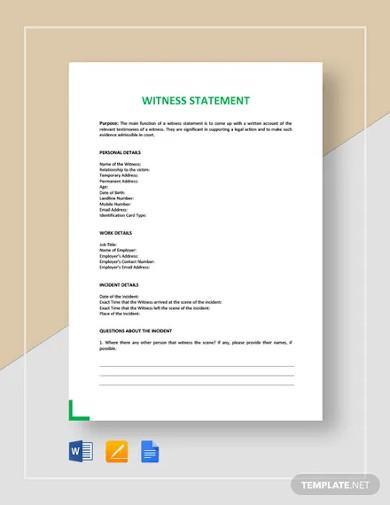 witness statement template