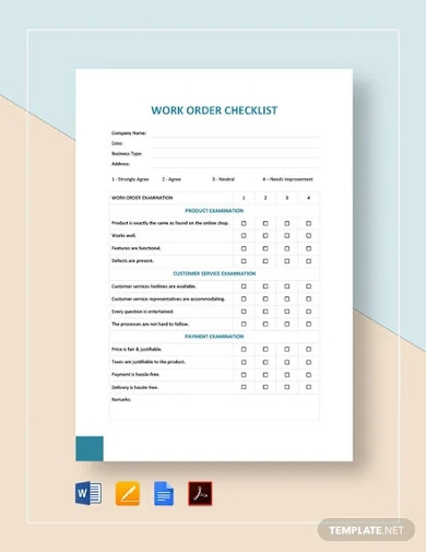 work order checklist template