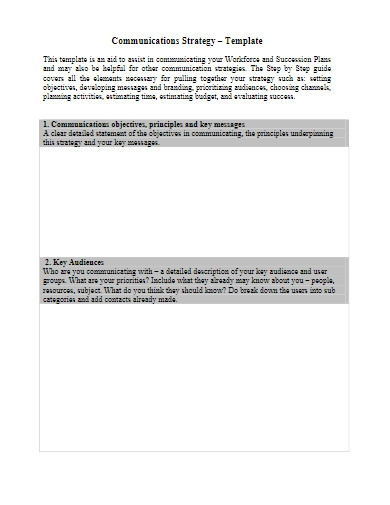 workforce communications strategy template