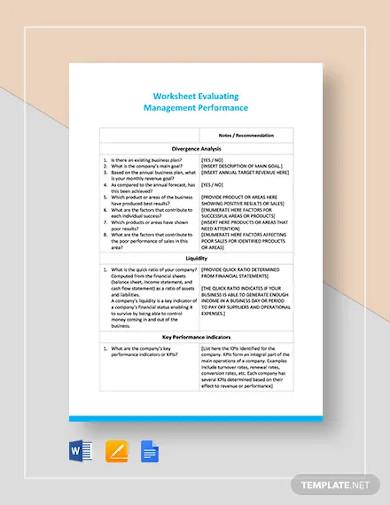 worksheet on evaluating management performance template