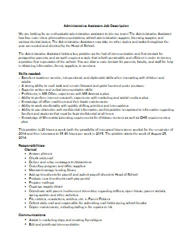 workshop administrative assistant job description