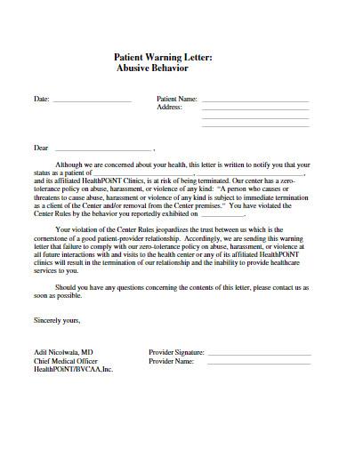 abusive behavior patient warning letter