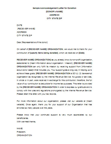 acknowledgement letter for donation