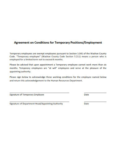 agreement for temporary employement