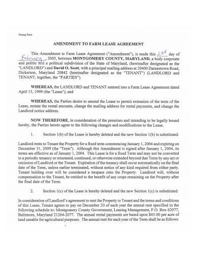 amendment to farm lease agreement