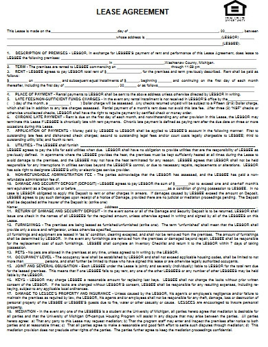 apartemt lease agreement example