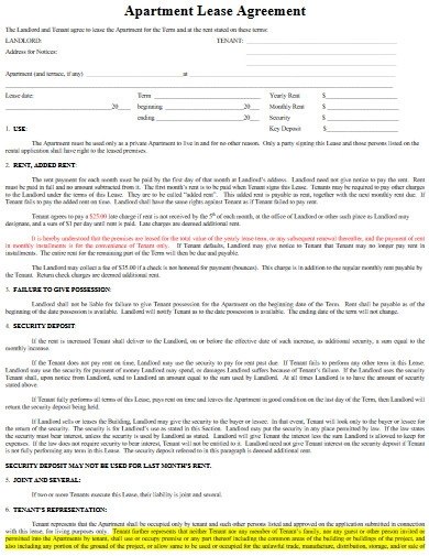 apartment lease agreement format