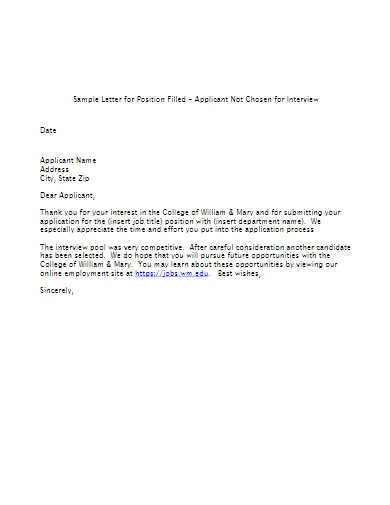 applicant job rejection letter