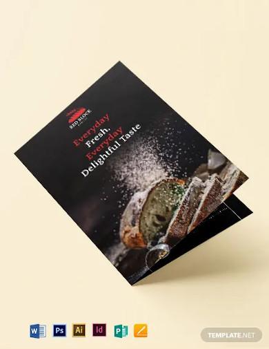bakery menu bi fold brochure template