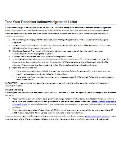 basic donation acknowledgement letter