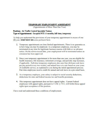 basic temporary employment agreement