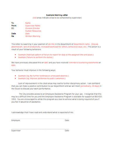 behavior warning letter example