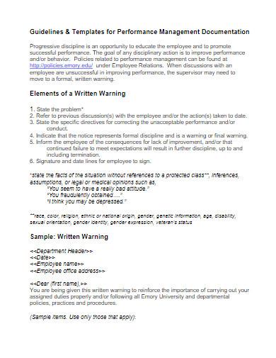 behavior written warning letter
