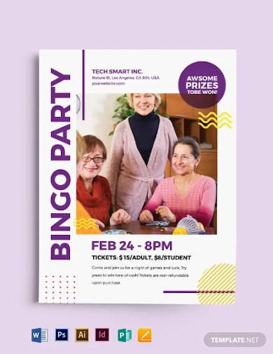 bingo party flyer template