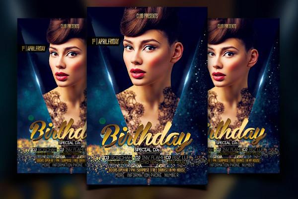 birthday flyer in psd