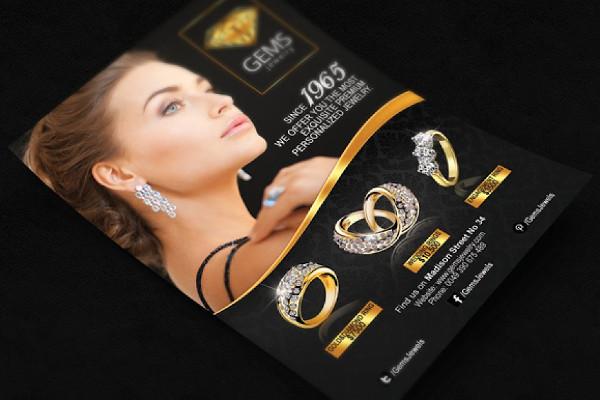 black gold jewelry flyer
