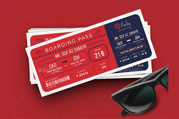 boarding pass in psd