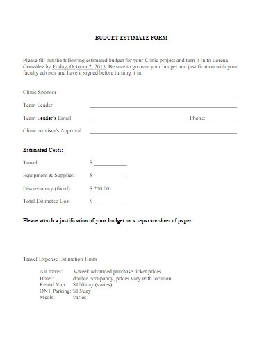 budget estimate form example